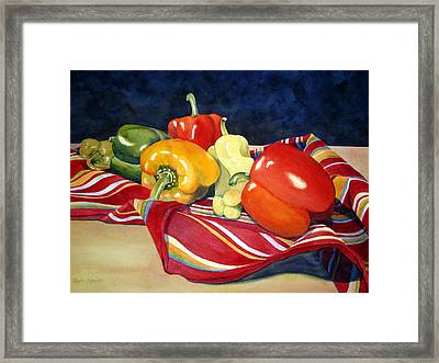 Painted Peppers Framed Print by Daydre Hamilton