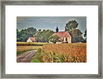 Painterly French Cornfield In Autumn Framed Print