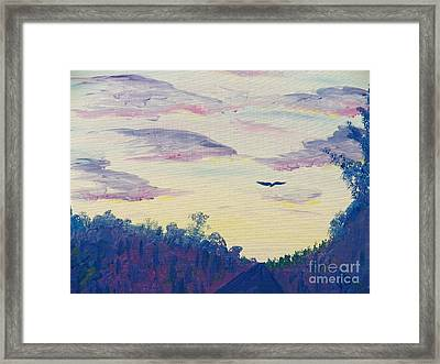 Painting  Driving At Dawn Framed Print by Judy Via-Wolff