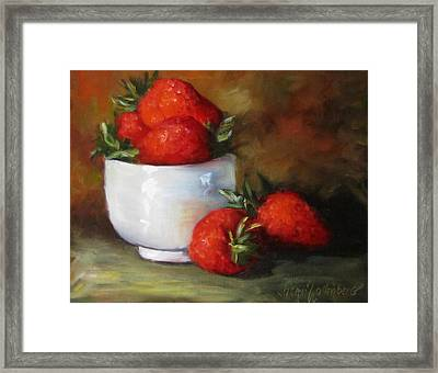 Painting Of Red Strawberries In Rice Bowl Framed Print by Cheri Wollenberg