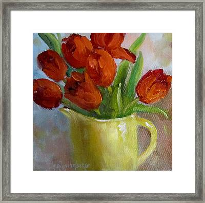 Painting Of Red Tulips Framed Print by Cheri Wollenberg