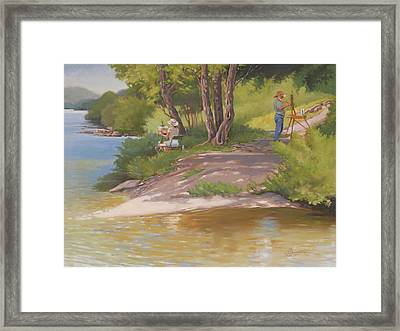 Painting The River Framed Print