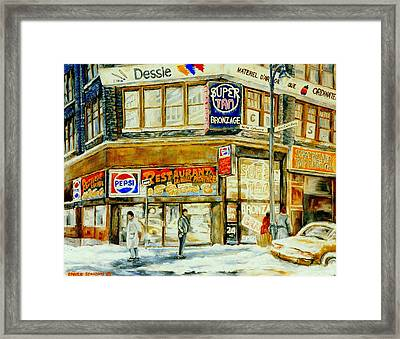 Paintings Of Montreal Streets Downtown Restaurants Rue Ste. Catherine City Scene Framed Print by Carole Spandau