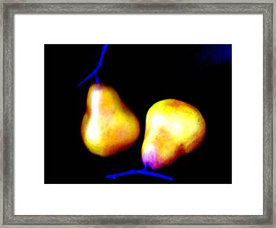 Pair Of Pears Yellow Framed Print by Randall Weidner