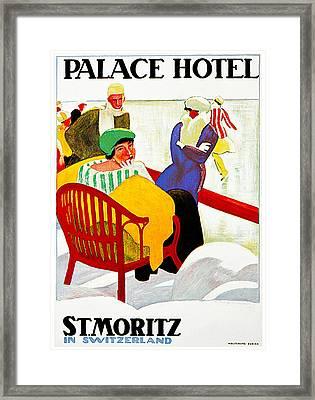 Palace Hotel St Moritz Framed Print by Emil Cardinzux