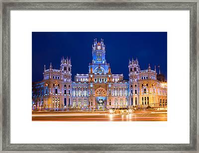 Palacio De Comunicaciones In Madrid Framed Print by Artur Bogacki