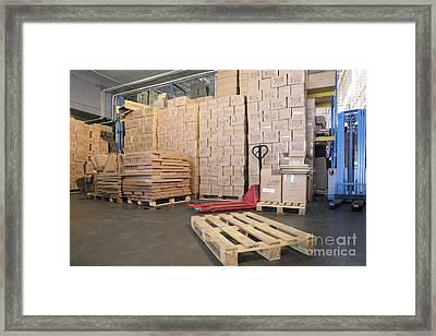Pallets And Boxes Framed Print by Magomed Magomedagaev