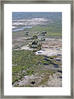 Pallets Of Relief Supplies Exit A C-17 Framed Print by Stocktrek Images
