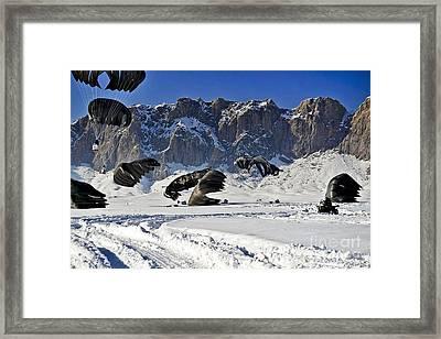 Pallets Of Supplies Land Framed Print by Stocktrek Images