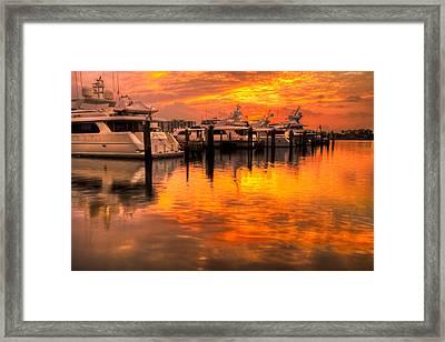 Palm Beach Harbor Glow Framed Print by Debra and Dave Vanderlaan