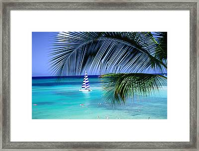 Palm Tree, Swimmers And A Boat At The Beach, Waikiki, United States Of America Framed Print by Ann Cecil