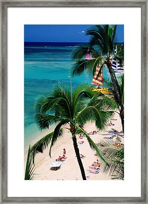 Palm Trees Over Waikiki Beach, Waikiki, United States Of America Framed Print
