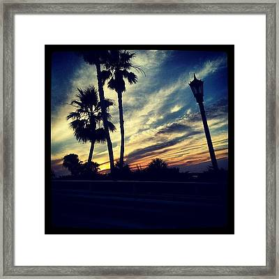 #palm Trees #sunset #sky #beautiful Framed Print