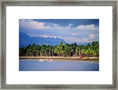 Palms And Beach, Sheraton Royale Hotel, Fiji Framed Print by Peter Hendrie