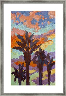 Palms And Sunrise Framed Print by Diane McClary
