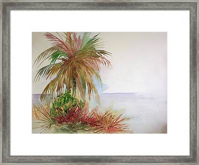 Framed Print featuring the painting Palms On Beach II by Richard Willows
