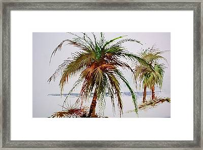 Framed Print featuring the painting Palms On Beach by Richard Willows