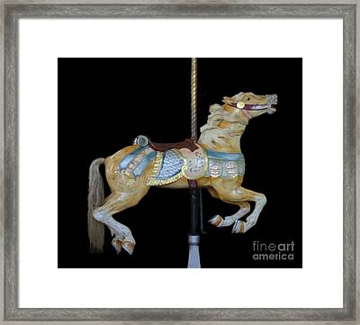 Palomino Carousel Horse Framed Print by Cindy Lee Longhini
