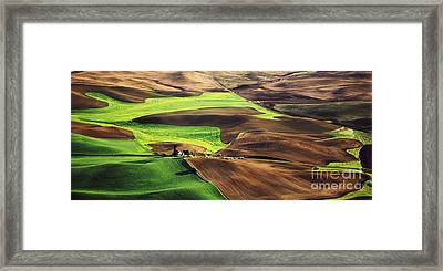 Palouse Farm Country Framed Print by Dennis Flaherty and Photo Researchers