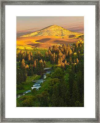 Palouse River And Steptoe Butte At Sunrise Framed Print by Alvin Kroon