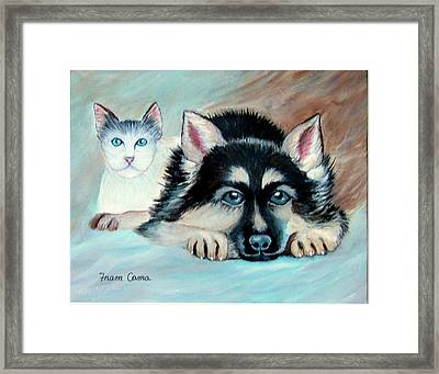 Framed Print featuring the painting Pals by Fram Cama