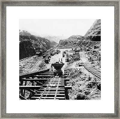 Panama Canal - Construction At The Culebra Cut - C 1910 Framed Print