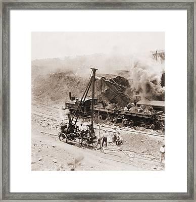 Panama Canal Construction. A Steam Framed Print by Everett