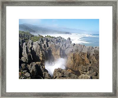 Framed Print featuring the photograph Pancake Rocks Blowhole by Peter Mooyman