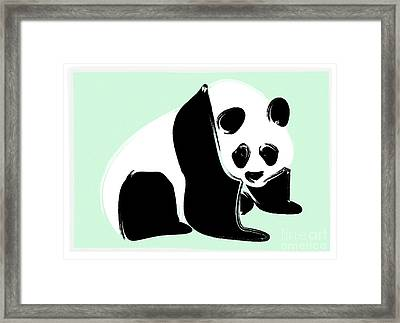 Panda On Green Framed Print by Michelle Bergersen