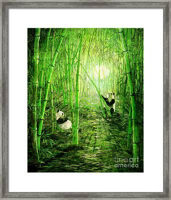 Pandas In Springtime Bamboo Framed Print