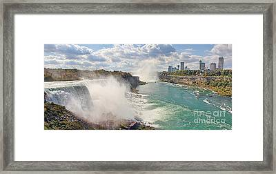 Panorama Of Niagra Falls Framed Print