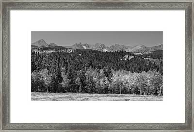Panorama Scenic Autumn View Of The Colorado Indian Peaks Bw Framed Print