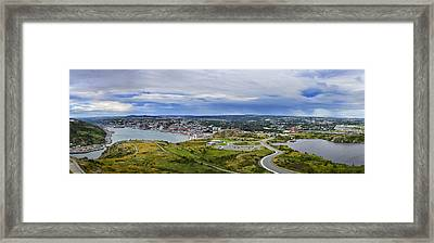 Panorama View Of St. John's Newfoundland And Labrador Canada Framed Print by Steve Hurt