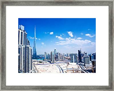 Panoramic Image Of Dubai City Framed Print by Anna Om