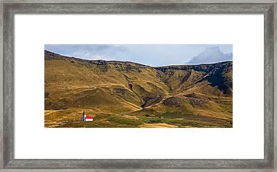 Panoramic View Of Around Vik Framed Print