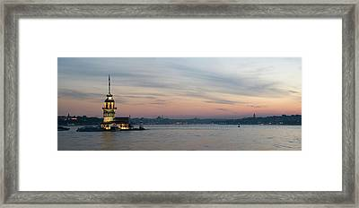 Panoramic View Of Maiden Tower Framed Print by Doruk Photography