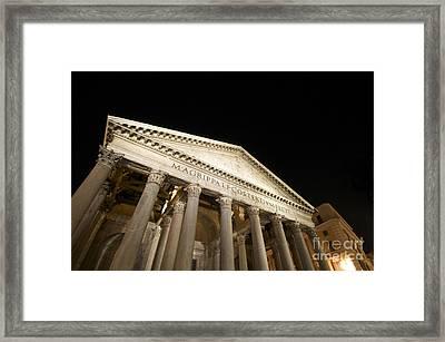 Pantheon At Night. Rome Framed Print by Bernard Jaubert