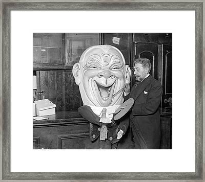 Pantomime Head Framed Print by Fox Photos
