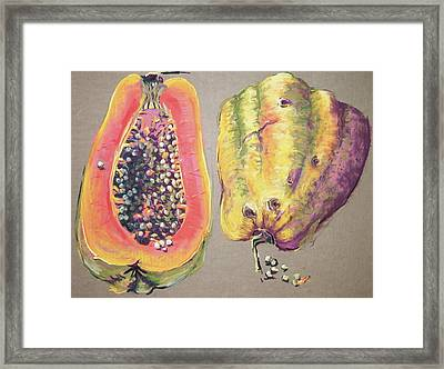 Papaya For Breakfast Framed Print by Barbara Richert