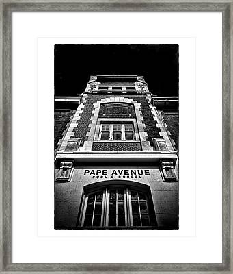 Framed Print featuring the photograph Pape Avenue Public School by Brian Carson