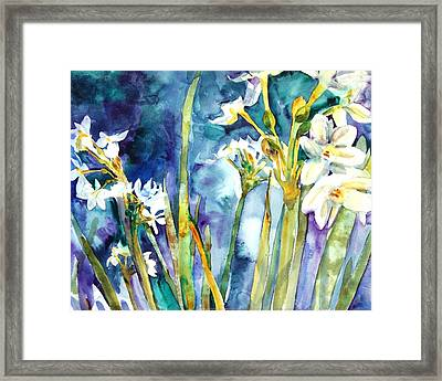 Paperwhites Teal Framed Print by Miriam  Schulman