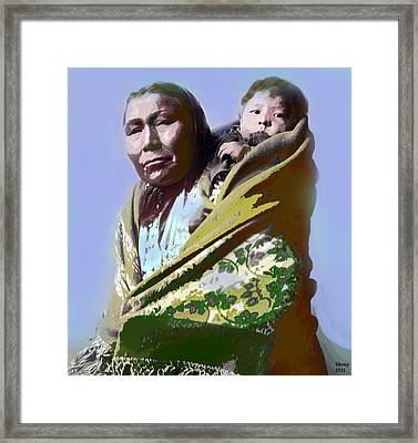 Framed Print featuring the mixed media Papoose by Charles Shoup