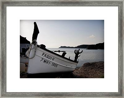 paqui my girl - A tradicional menorca fishing port with the typical fisher boat called llaut  Framed Print by Pedro Cardona