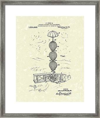 Parachute Attachment For Flying Machines 1919 Patent Art Framed Print by Prior Art Design