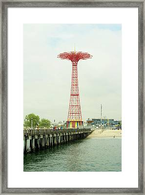 Parachute Jump At Coney Island, New York Framed Print