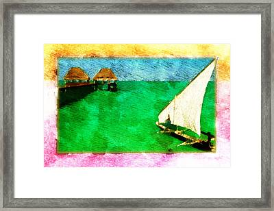 Framed Print featuring the digital art Paradise Island by Andrea Barbieri