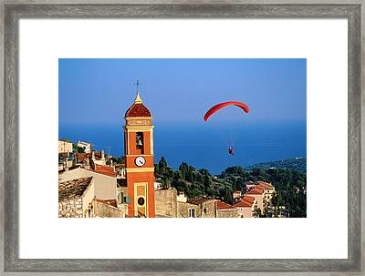 Paraglider Soaring Past Tower Of Colourful Village Church, Alpes-maritimes, Roquebrune, Provence-alpes-cote D'azur, France, Europe Framed Print