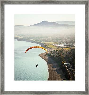 Paragliding Off Killiney Hill Framed Print