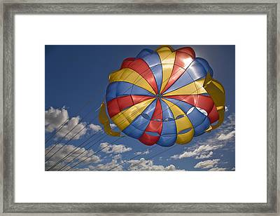 Parasail Backlit By Sun Mauritius Framed Print by Stuart Westmorland