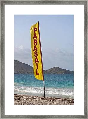 Parasail Beach Flag. Framed Print by Fernando Barozza